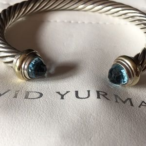 David Yurman Blue Topaz SS and 14k gold Bracelet
